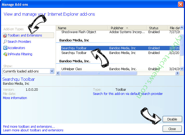Vnse52.xyz virus IE toolbars and extensions