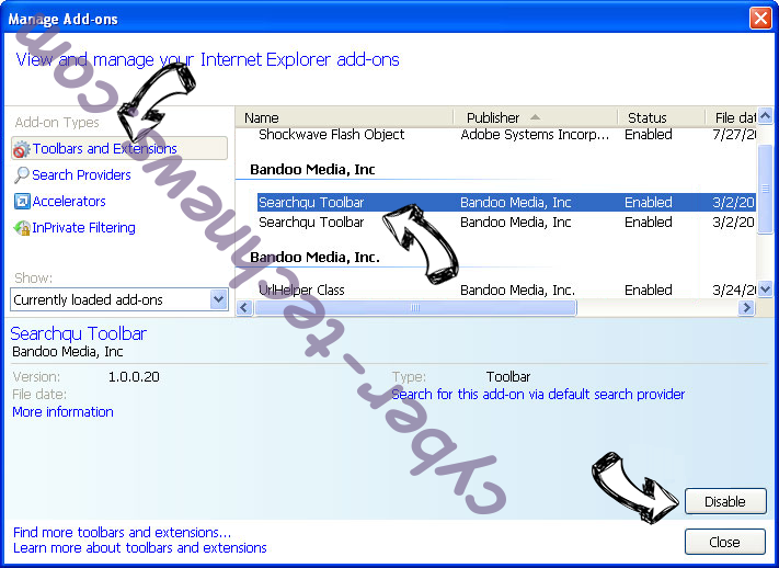 iSearchNow.net IE toolbars and extensions