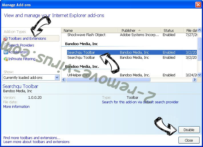 Search.searchemailo.com IE toolbars and extensions