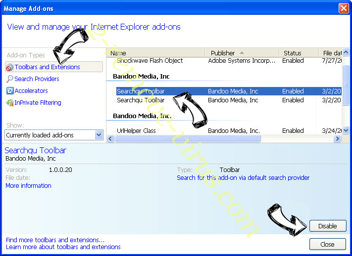 Search.dsearchm3f2.com IE toolbars and extensions