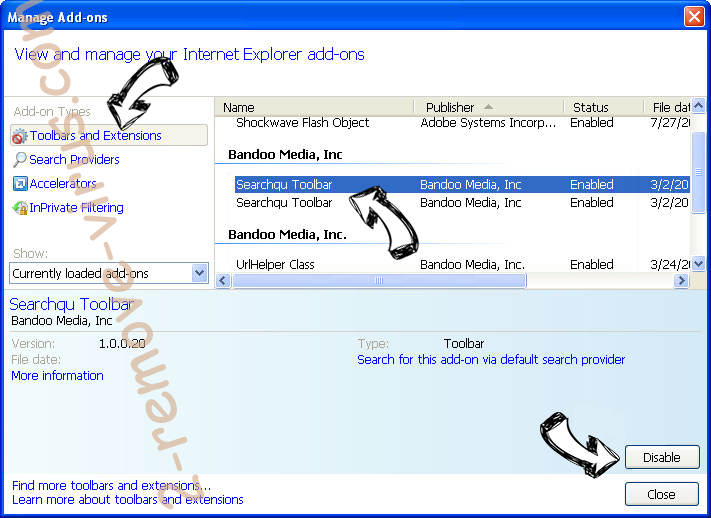 Search.searchfch.com IE toolbars and extensions