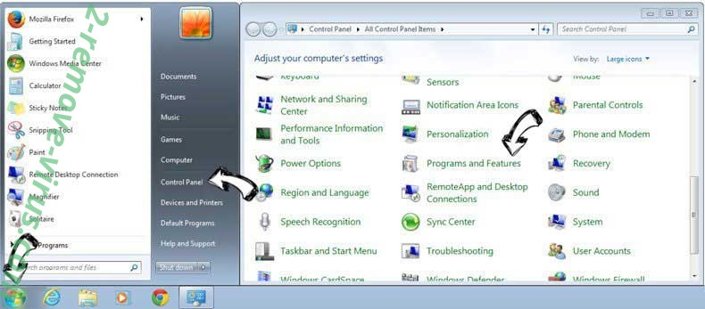 Uninstall Sport.searchalgo.com from Windows 7