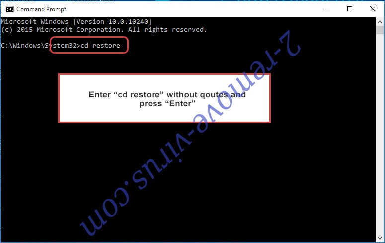 Uninstall GandCrab 5.2 Ransomware - command prompt restore