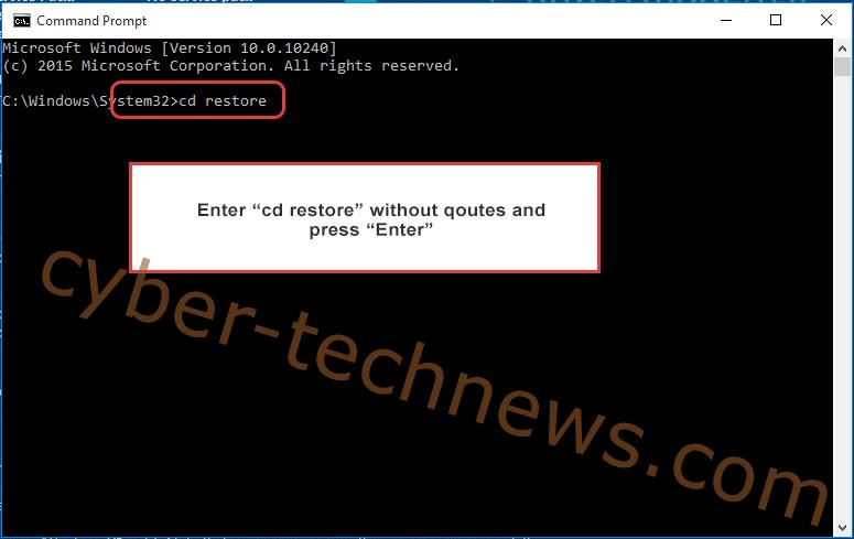 Uninstall CrazyCrypt Ransomware - command prompt restore
