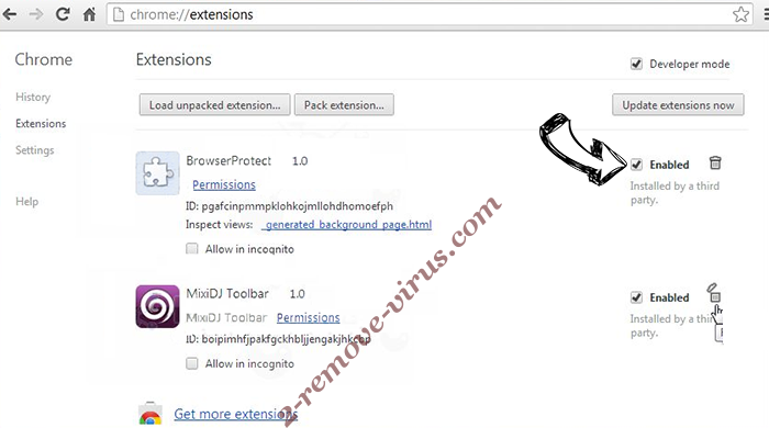 Pushtouchme.info Chrome extensions disable