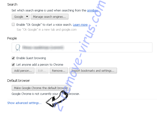 Leaveheat.com Chrome settings more