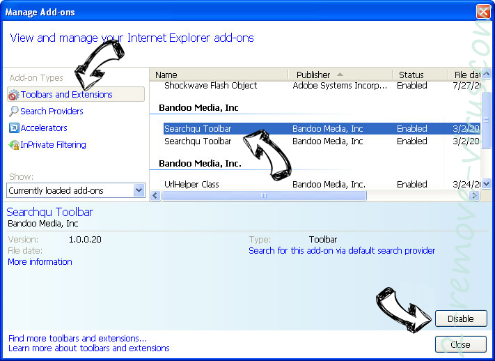 Search.searchmpctpop.com IE toolbars and extensions