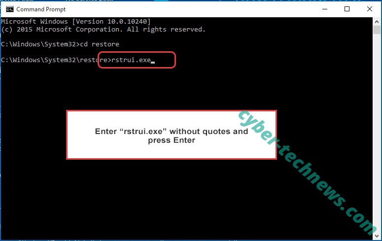 Delete FRS ransomware - command prompt restore execute