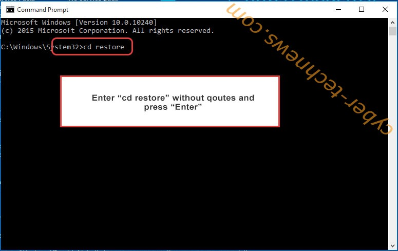 Uninstall a800 Ransomware - command prompt restore