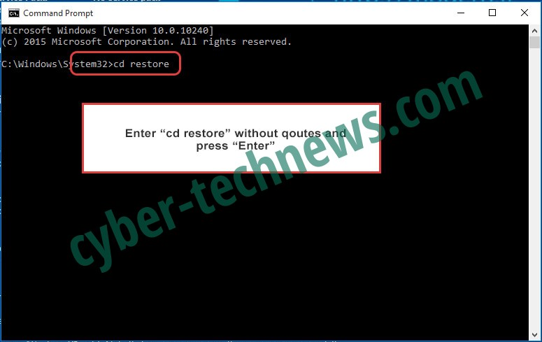 Uninstall BlackRuby2 ransomware - command prompt restore