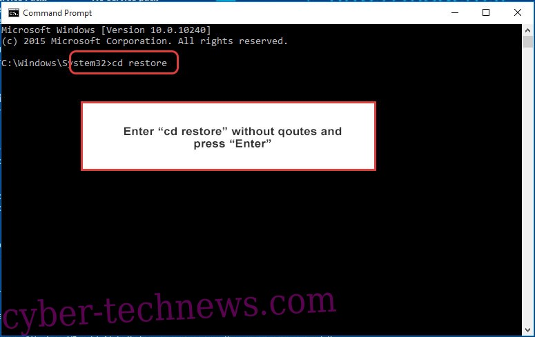 Uninstall WhiteRose ransomware - command prompt restore