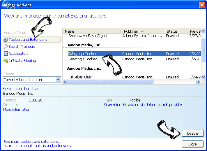 Search.schooldozer.com IE toolbars and extensions
