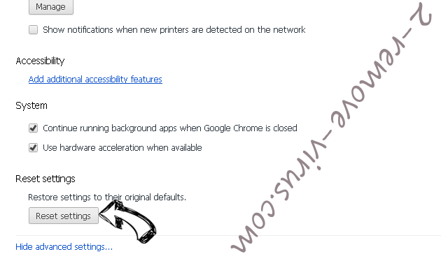 Click-now-on.me Chrome advanced menu