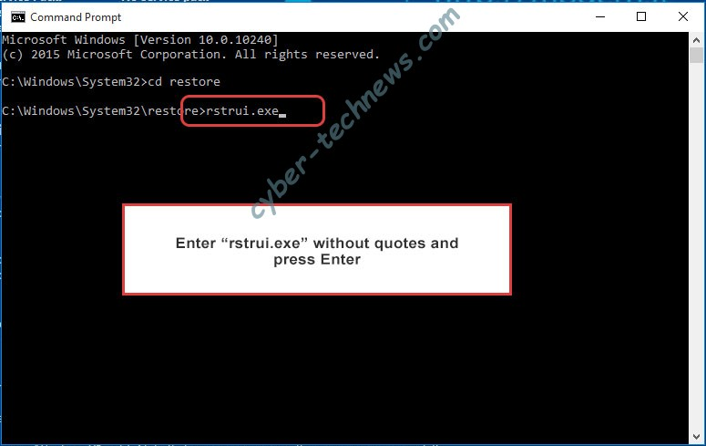 Delete Black Heart Ransomware - command prompt restore execute