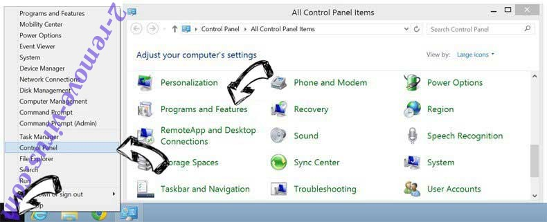 Delete Downtoext.info from Windows 8