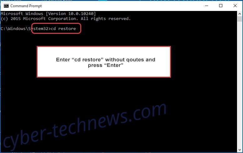 Uninstall JabaCrypter Ransomware - command prompt restore