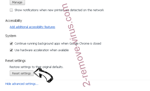 StartsSearch Newtab virus Chrome advanced menu