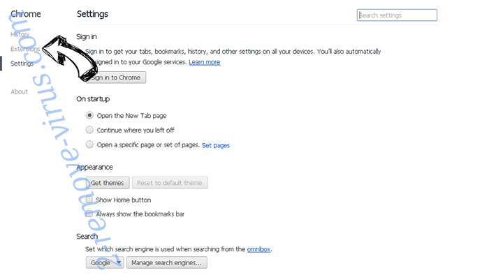 StartsSearch Newtab virus Chrome settings