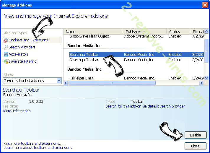StartsSearch Newtab virus IE toolbars and extensions
