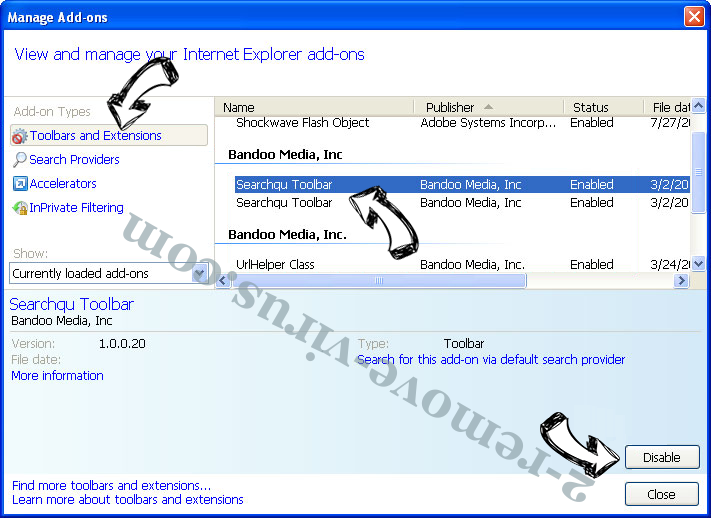 Xilbalar.com virus IE toolbars and extensions
