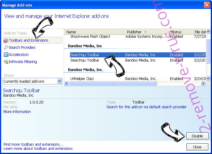 Search.hsearchsmart.co IE toolbars and extensions