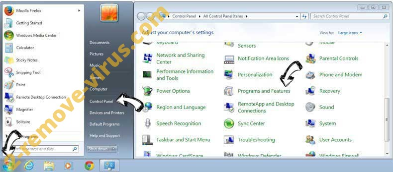 Uninstall Search.hsearchsmart.co from Windows 7