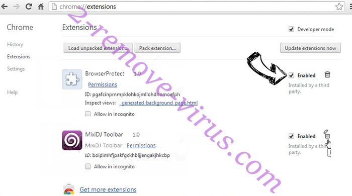 Trk.billyrtb.com redirect virus Chrome extensions disable