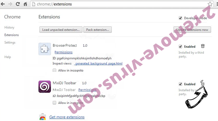 Binary1.website redirect virus Chrome extensions remove