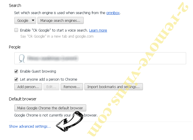 Search.thesearchguard.com Chrome settings more