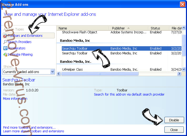 Search.searchpcst.com IE toolbars and extensions