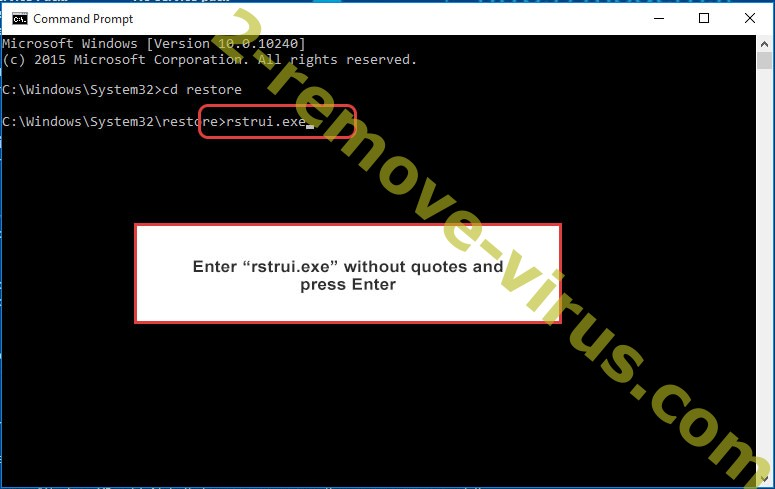 Delete Recovery ransomware - command prompt restore execute