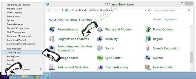 Delete central-messages.com virus from Windows 8