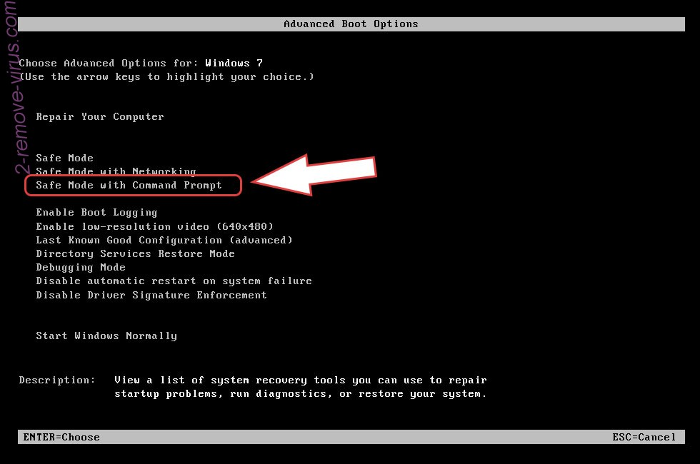 Remove Recovery ransomware - boot options