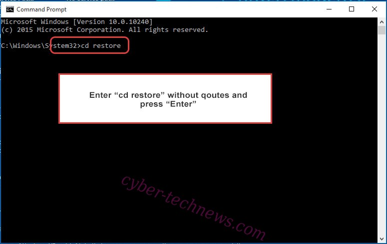 Uninstall COPAN Ransomware - command prompt restore