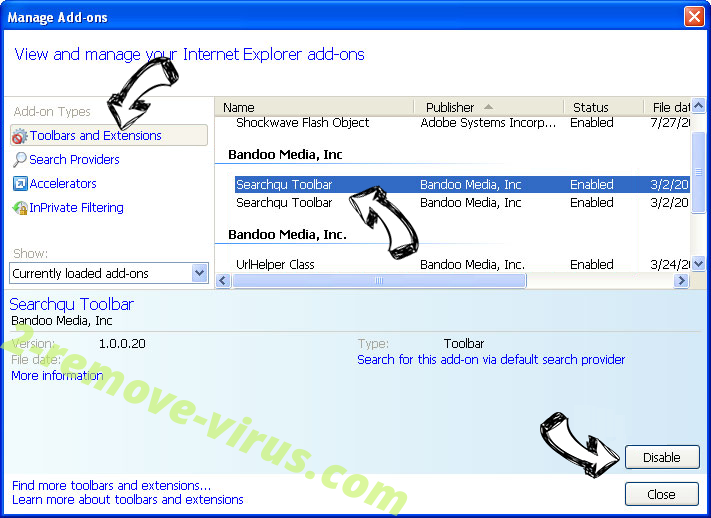 Maps Utility Virus IE toolbars and extensions