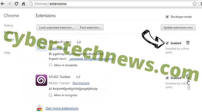 meknews.biz virus Chrome extensions disable