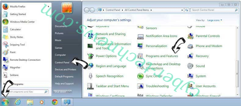 Uninstall FreeArticleSkimmer toolbar from Windows 7