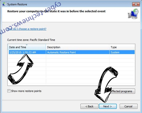 .Tanos extension virus - restore point