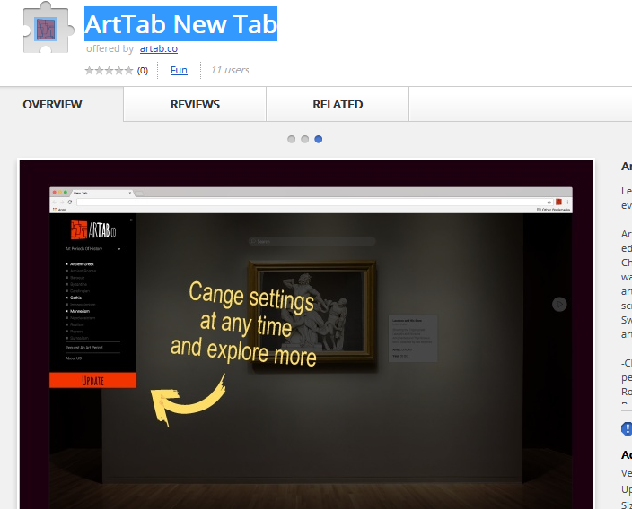 ArtTab New Tab Extension