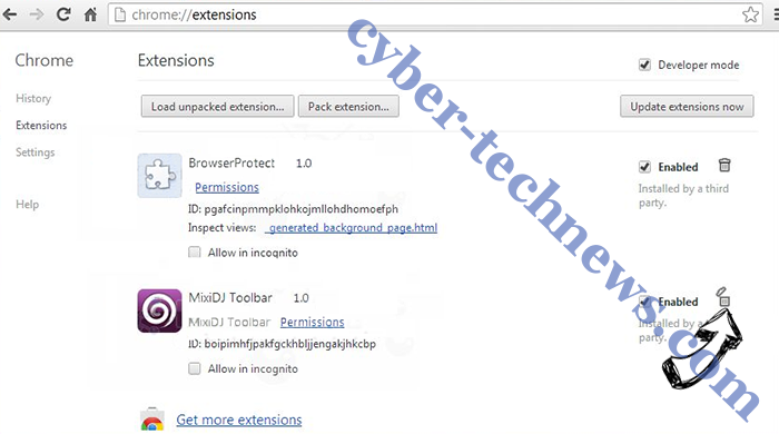 Page-Ups.com Virus Chrome extensions remove
