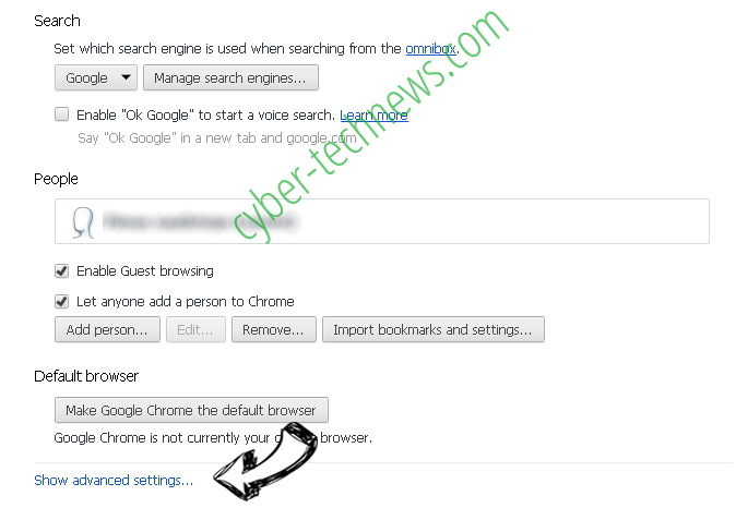 Searchtab.net Virus Chrome settings more