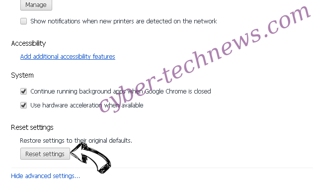 Netsearcher.site redirect Chrome advanced menu