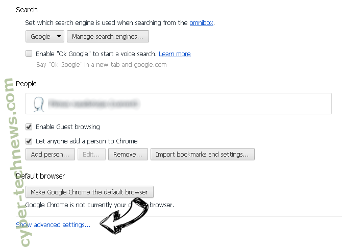 Search.browsersearch.net Chrome settings more