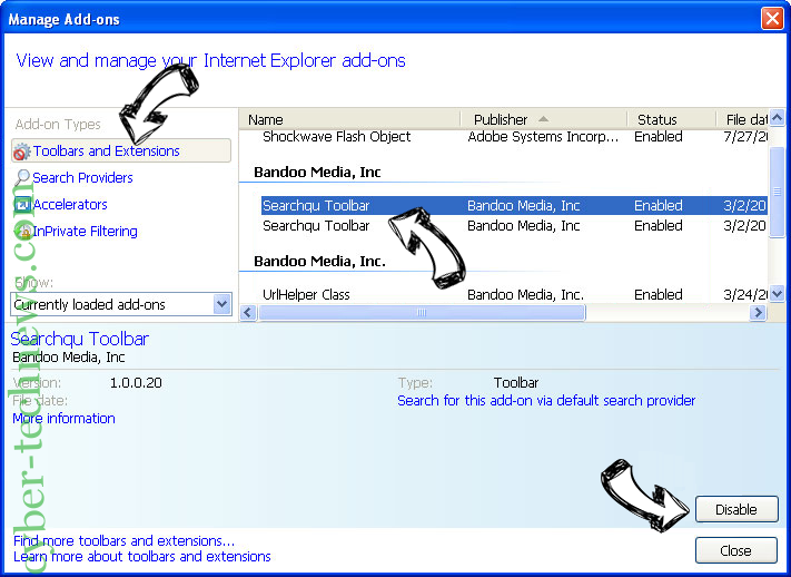 Netsearcher.site redirect IE toolbars and extensions