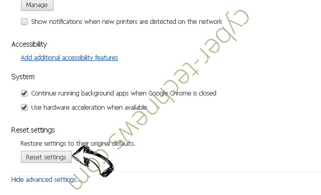 Nadinthimmeled virus Chrome advanced menu