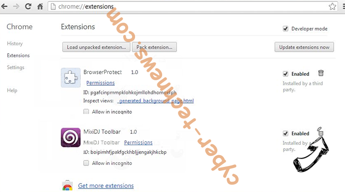 Nadinthimmeled virus Chrome extensions remove