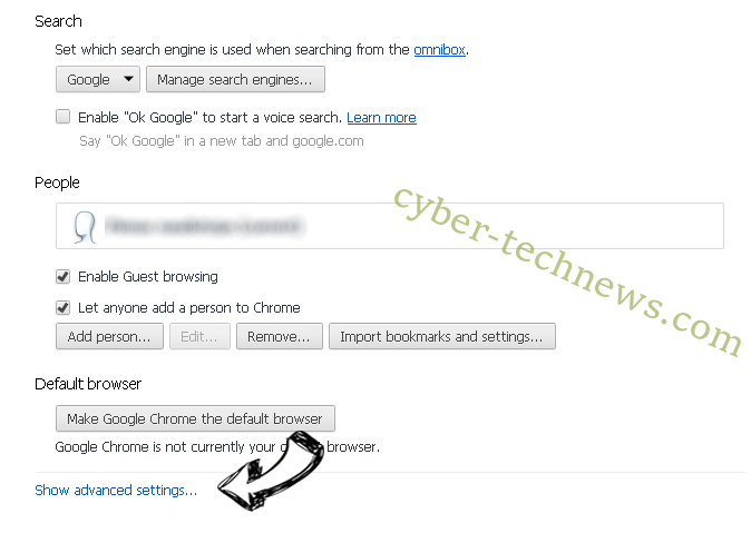 Search.hometab.com Chrome settings more