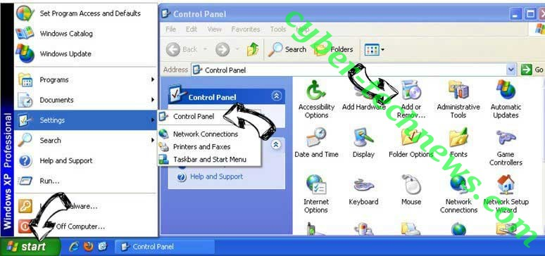 Remove Search.emailhelperapptab.com from Windows XP