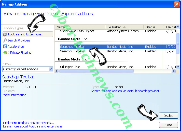 Search.searchgtp2.com IE toolbars and extensions