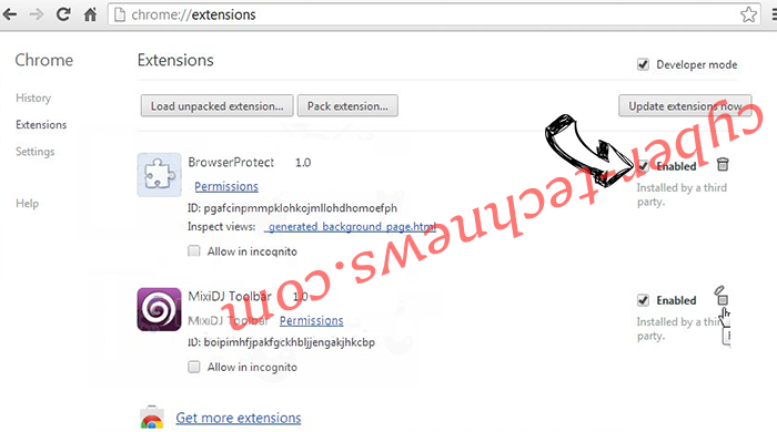 Shoppers Tab Virus Chrome extensions disable